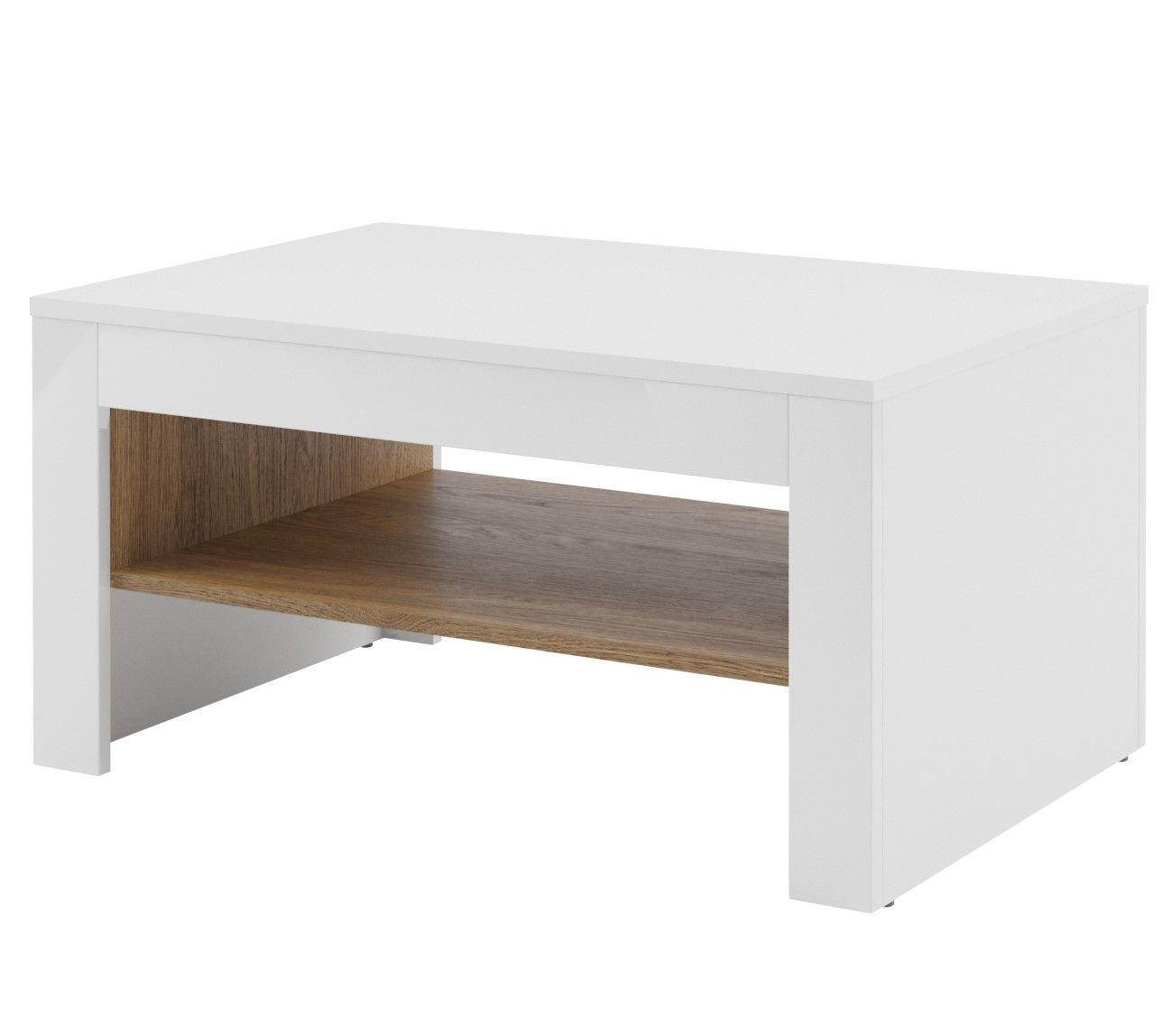 Bn Design High Gloss White And Walnut Coffee Table With 2: Calvino High Gloss White & Walnut Coffee Table Loung